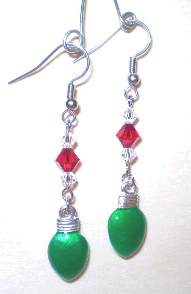 Cute green christmas lights with red and white swarovski crystals